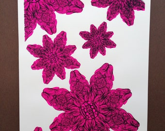 Bloom! Hot Pink with black outline. Artist's Proof, Silkscreen by Erica Schisler of Forty Elephants