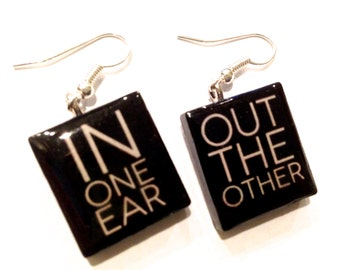 In One Ear, Out the Other Scrabble Tile Earrings