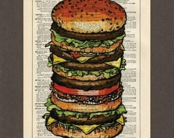 Ultimate Hamburger, Dictionary Art Print, Upcycled Dictionary Page, Old Book Art, Decorative Wall Art,