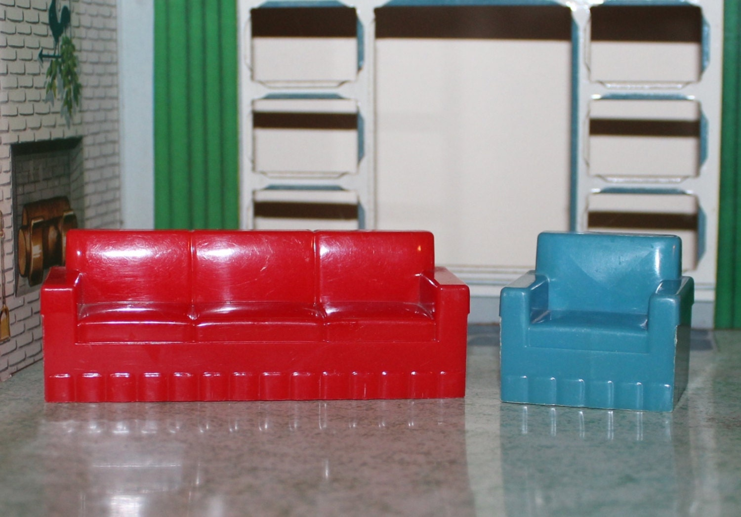 Marx Old Hard Plastic Dollhouse Furniture Miniatures By Prettydish