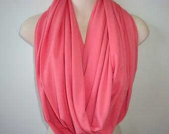 SALE - Pink Salmon Infinity Scarf