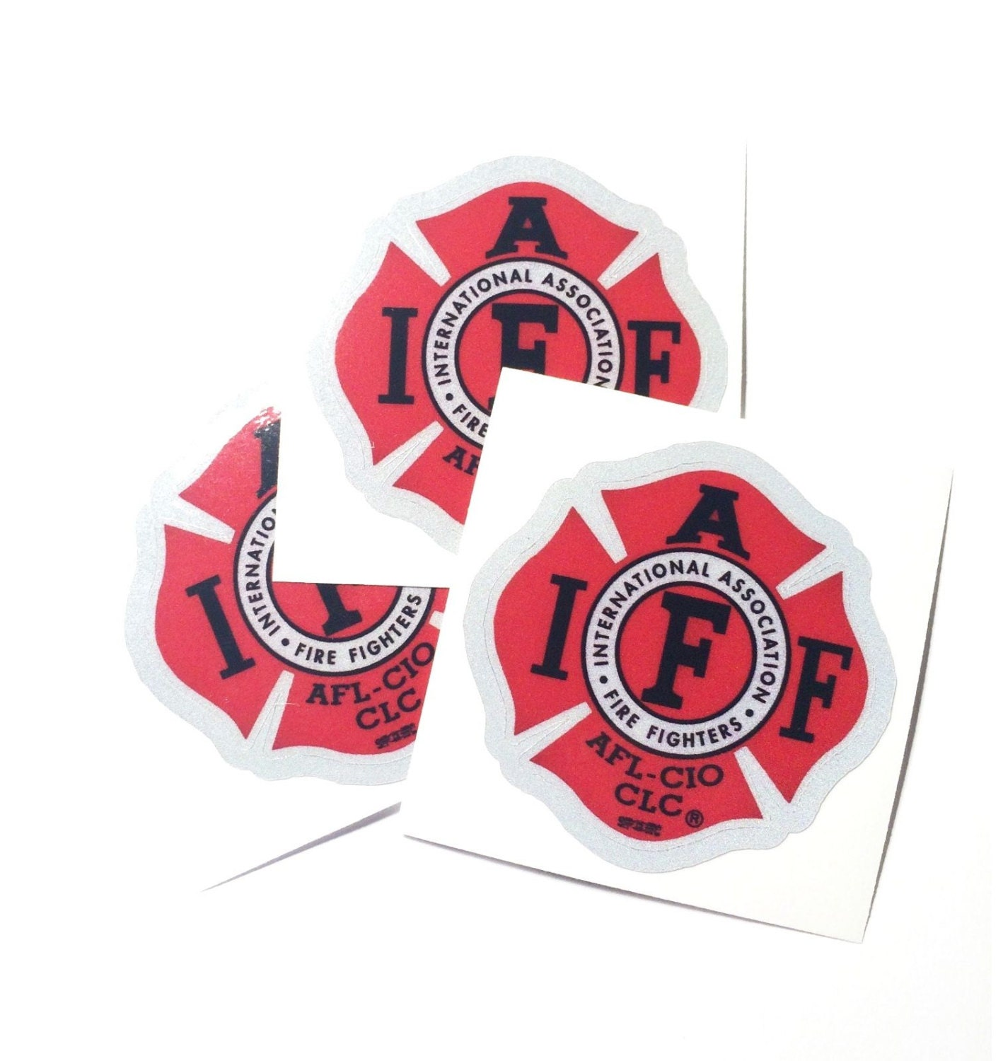 X The IAFF Union M True Red REFLECTIVE Vinyl Firefighter - Reflective fire helmet decals