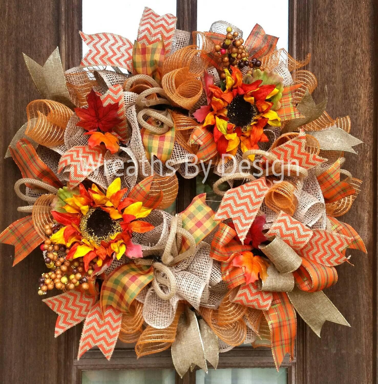 Fall Doorways: Burlap Fall Wreath-Fall Door Wreath-Front Door Wreath-Wreaths
