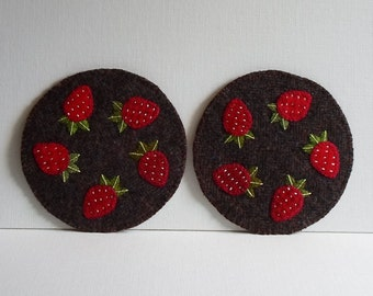 Handmade Strawberries & Tweed Felted Wool Mug Mats