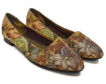 Vintage 90s Sandler of Boston Floral Patterned Slip On Loafers Shoes Sz 8M