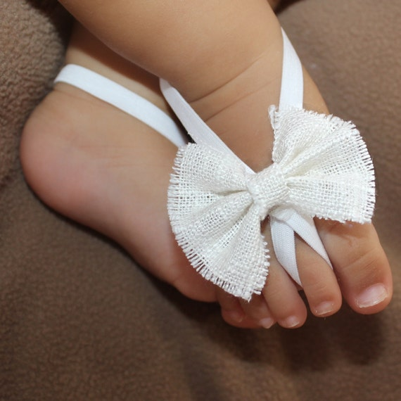 White Bow Sandals, Barefoot Sandals, Baby Barefoot, Baby Sandals, Baby Crib Shoes, Sandals For Babies, Wedding Sandals