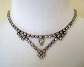 Vintage Clear Rhinestone Necklace Choker 1950s Prom Jewelry Silver Tone with Triangular Station