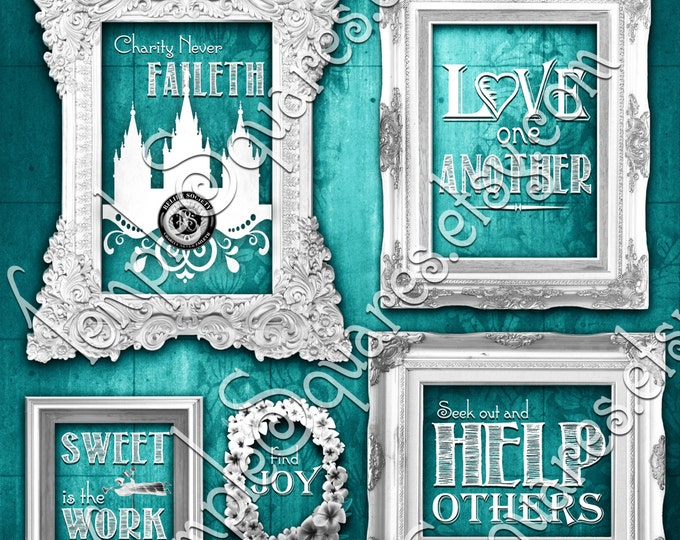Relief Society Charity Never Faileth Temple Art bundle LDS posters. Printables in 3 square sizes. Mix of colorful chalkboard subway styles