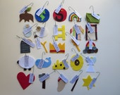 Our 'Technicolor Entry' set - 25 felt Jesse Tree ornaments with hooks and tags