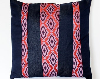 Pillow cover with denim and necktie