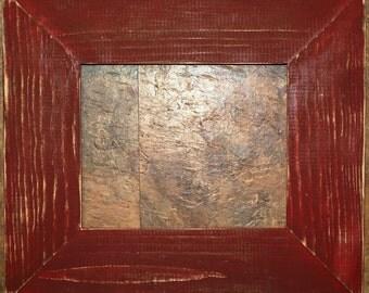 "F002 3-1/2"" Crimson Distressed Picture Frame"