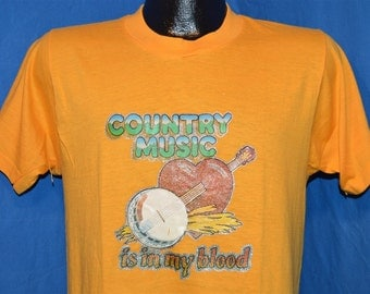 70s Country Music is in My Blood Glitter Iron On t-shirt Medium