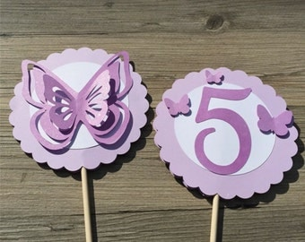 Butterfly Centerpieces - Personalized with Age - Shades of Light Lavender, Lavender & White - set of 2