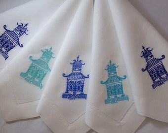 4 Custom Made Pagoda Napkins, any color.