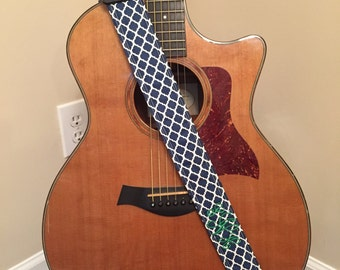 Guitar Strap - Handmade - Navy Quatrefoil