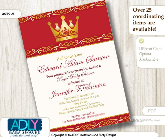 red gold prince baby shower or birthday invitation for boy king golden
