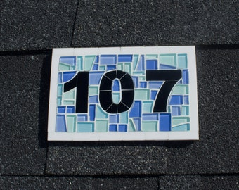 House Number Plaque -- Stained Glass Mosaic Tile Address Sign for Beach House Decor