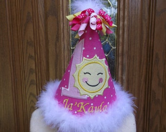 Girls First Birthday Hat - You Are My Sunshine Theme Hat