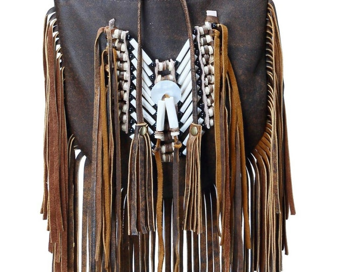 N48M- Medium Antique Brown Indian leather Handbag, Native American Style bag. Crossbody bag