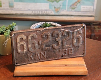 Vintage 1938 Double-Sided License Plate