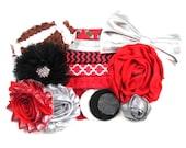 Ohio State Inspired - DIY Mini Headband Kit - 5 DIY Headbands - Baby Shower Station - Headband Bar - Craft Show - MHK-099
