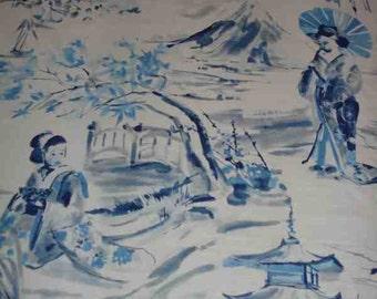 Miyako Blue Asian Toile Fabric by the yard