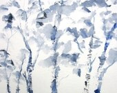 Blue Birches- Watercolor Original Painting (not a print)-14x10