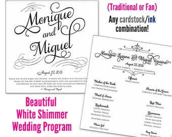 Wedding Programs - Traditional Wedding Program or Wedding Program Fan