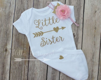 Little Sister bodysuit & Headband, Gold glitter take home outfit, Coming Home outfit, Newborn bodysuit, Gold newborn outfit baby girl outfit