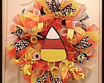 JULYSALE10-Halloween Candy Corn Deco Mesh Wreath/Candy Corn Wreath/Halloween Wreath/yellow wreath/orange wreath/Black wreath