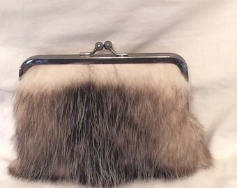Genuine Opossum Fur Clutch Purse
