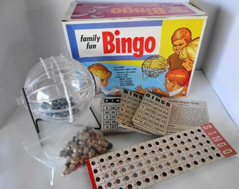 """Vintage Collectible Rare Find 1968 Hassenfeld Bros """"Bingo"""" Revolting Bingo Cage with Complete Set -Board Game Complete Set in Box"""