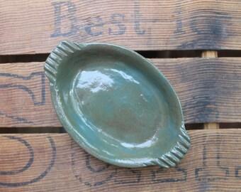 Green Pottery Dish - Pottery Tray - Jewelry Dish
