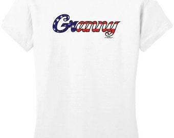 Granny Stars and Stripes Patriotic Junior's T-Shirt DT6001 - FB-293