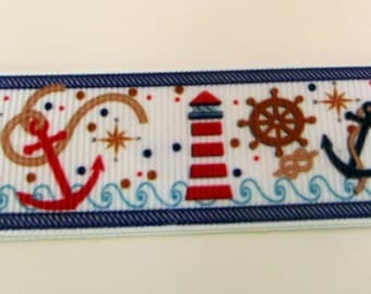 24-Nautical Symbols Grosgrain Ribbon  Boat, Anchor, Ship's Wheel, Lighthouse 7/8  in. wide x 3 or  5 yards long
