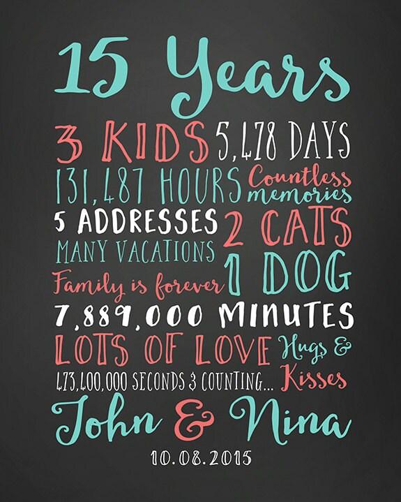 15th Wedding Anniversary Gift Ideas For Men: Wedding Anniversary Gifts Paper Canvas 15 Year Anniversary