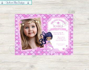 Little Mermaid Birthday Invitation - Girl with Picture