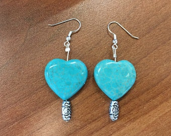 Heart turquoise earings.