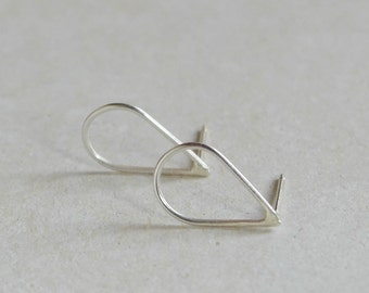 Sterling silver drop stud earrings geometric minimalist earrings - AME D'ARGENT