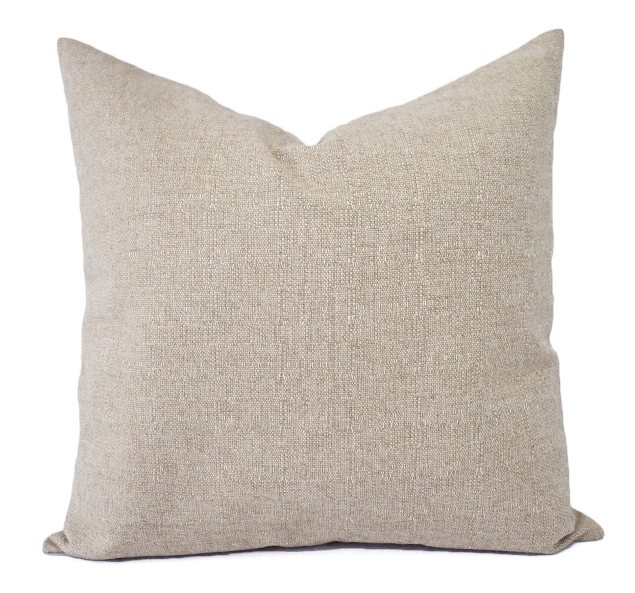 Two Burlap Decorative Throw Pillow Covers Solid Cream