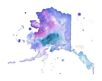 Alaska Map - Print of watercolor painting