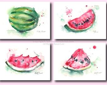 "Watermelon Splash - set of 4 illustrations - 5 x 7"" Watercolor prints"