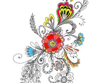 Colouring Page entitled Swirly Flowers for Adults Art Therapy, relaxation, instant download
