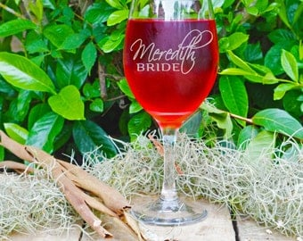 Personalized Etched Wine Glass, Wedding Party Gifts, Custom Gifts