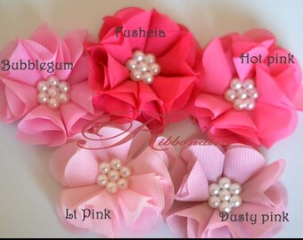 Pearl Chiffon flowers 26 colors to chose - you chose the colors , hair accessories , sewing , decoration