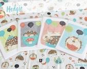 CLEARANCE - Hedgie's Teatime Takeover Celebration Stationery Card Gift Set of 4 SALE- Blank Inside