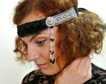 READY TO SHIP Gatsby Headband Black Silver   1920s Headpiece Flapper Headband  Prom Headpiece Prom Headband