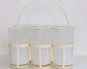 Vintage Mid Century White Square Glassware Barware with Carrier