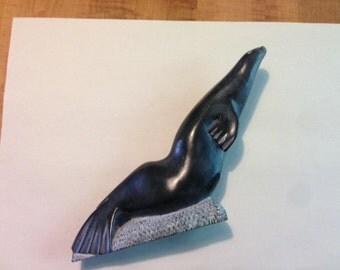 Vintage INUIT/ESKIMO Soapstone Sculpture Large Seal -1988