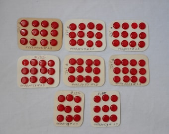 """Vintage Red 3/8"""" Shank Buttons 90 buttons"""